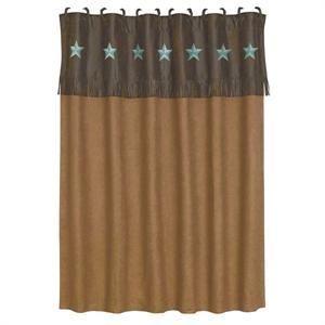 Laredo Star Western Shower Curtain Turquoise