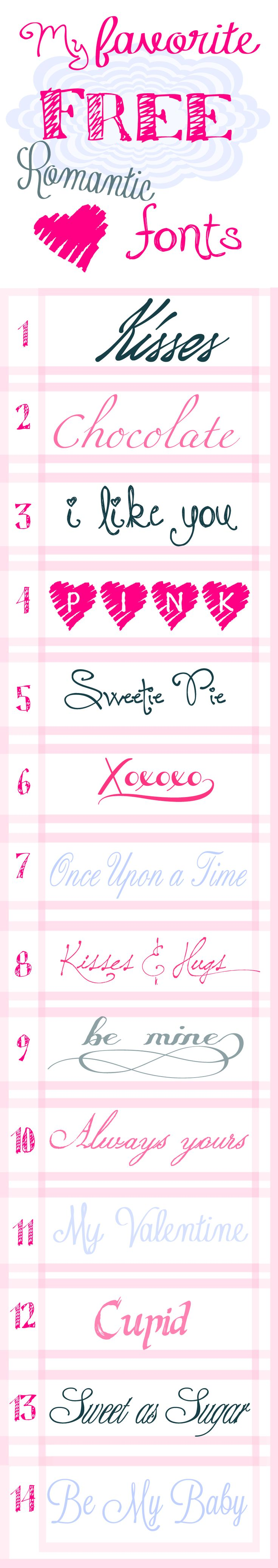 Romantic Free Fonts 14 for Valentine's Day!