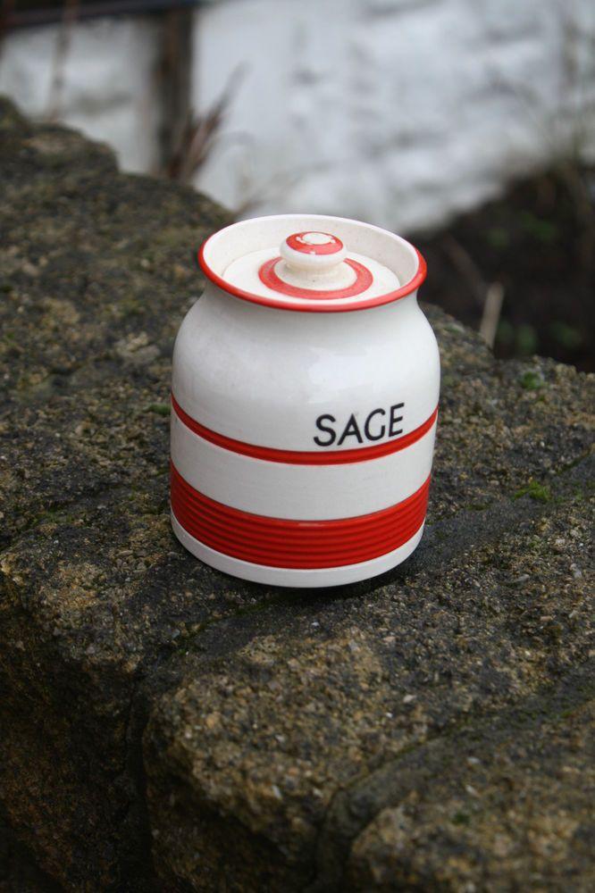 Vintage Kleen Kitchen Ware Red Banded Small Kitchen Storage Jar – Sage – Great!