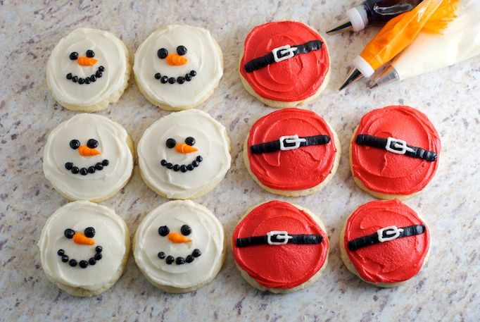 Soft Sugar Cookies - Snowman and Santa Belt.  Would be cute for cookie exchange.