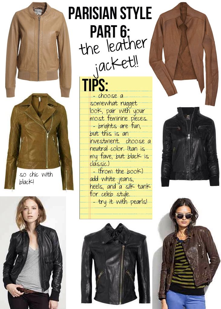 """#6 The Leather Jacket // """"Magnificent Seven."""" The non-negotiable items that everyone must own, the essentials to chic, Parisian Style, from """"PARISIAN CHIC, BY INES DE LA FRESSANGE."""""""