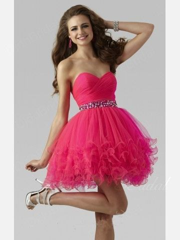 Sweetheart Tulle Beaded Short Homecoming Dress