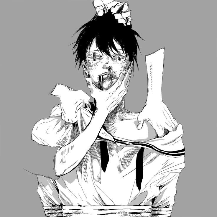 Abused anime boy