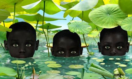 """""""Dutch photographer Ruud van Empel's work initially stands out out because of his models... But there's something uncanny about their look. Their innocence seems tainted. The reason for this oddness, we soon find out, is because we are looking in the eyes of people who don't exist and never have. Instead, they are photoshopped into being through a patchwork of noses, arms, eyes and lips."""" (more)"""