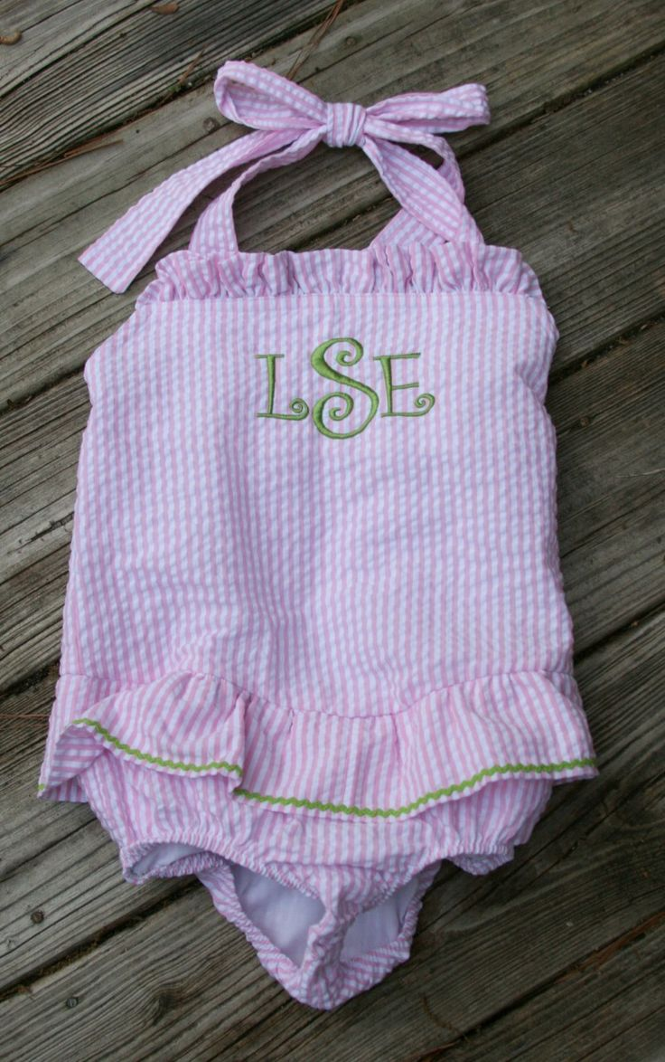 tinytulip.com Monogrammed Girls Seersucker Swim Bathing Suit    (http://www.tinytulip.com/monogrammed-girls-seersucker-swim-bathing-suit)