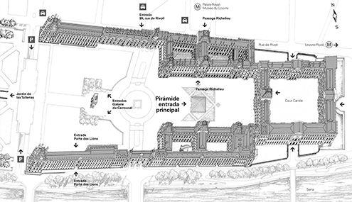 louvre-plano-informacion+museo+musee+drawings+ubicacion+obras+como+llegar+paris+alas+galerías+espacios+hall+pirámide-O.jpg (495×285)