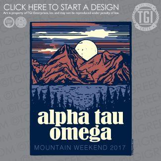 Alpha Tau Omega | ΑΤΩ | Mountain Weekend | Mountain Weekend Shirt | TGI Greek | Greek Apparel | Custom Apparel | Fraternity Tee Shirts | Fraternity T-shirts | Custom T-Shirts