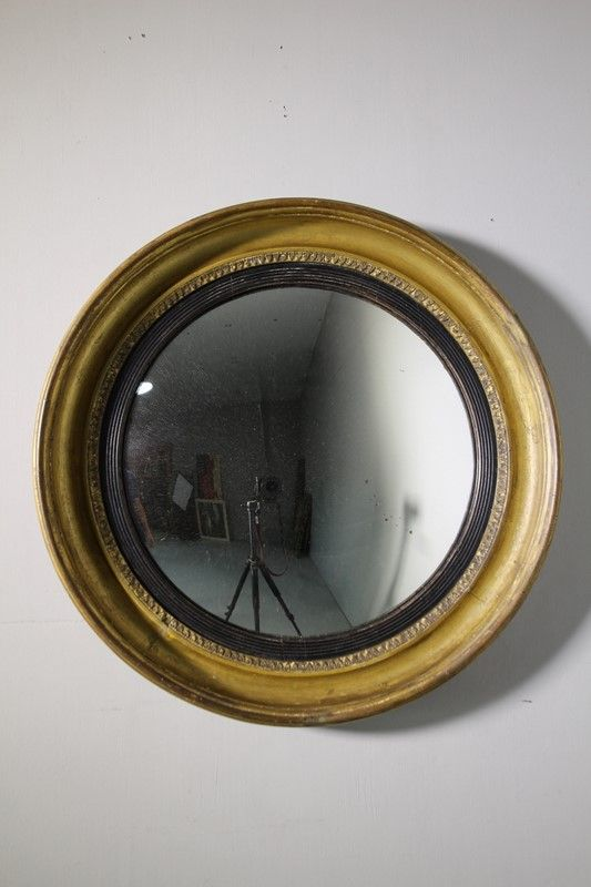 Large Georgian Antique Gilt Convex Mirror Decorative
