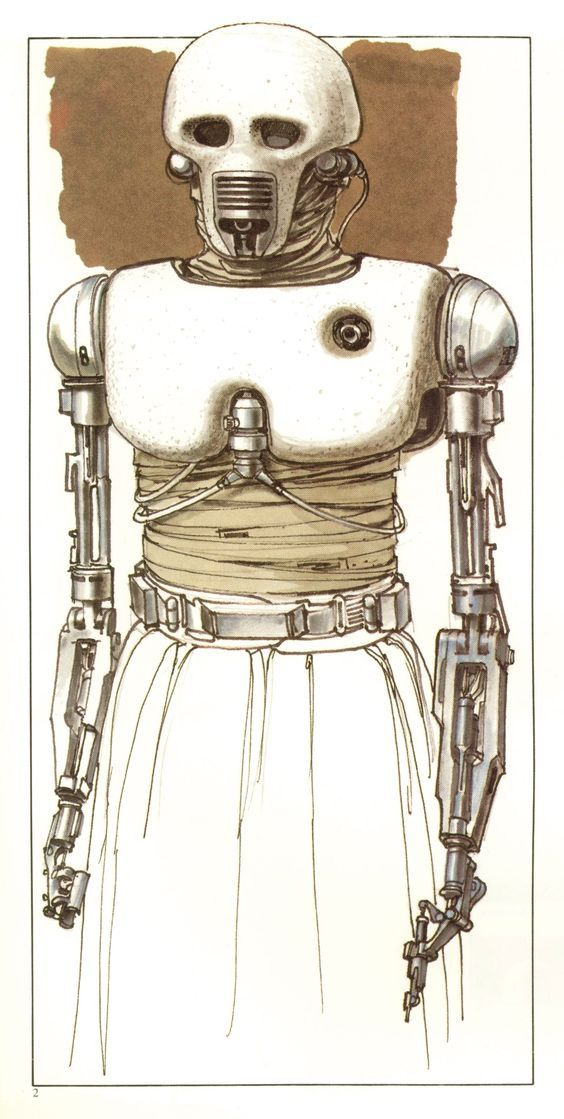 TESB: 2-1B Surgical Droid (Concept sketch by Ralph McQuarrie).  2-1B was the medical droid that attended to Luke after he nearly froze to death on Hoth.: