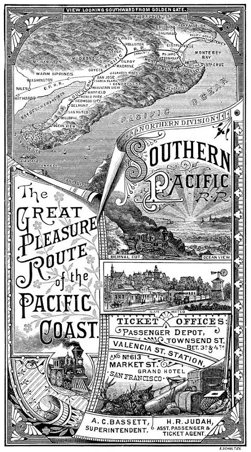 "Southern Pacific Railroad advertisement from 1885. The company was founded in 1865 as a land holding company and became a railroad when it acquired the Central Pacific in 1885. The Central Pacific had employed as many as 12,000 emigrant Chinese laborers to build the railroad line from California to Utah where the ""golden spike"" was laid in 1869 to form the first transcontinental railroad. Utah was the connecting place with the Union Pacific railroad which had been built west from Council…"