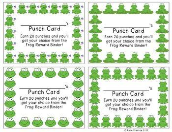Frog Punch Cards (Positive Behavior Incentive Program)