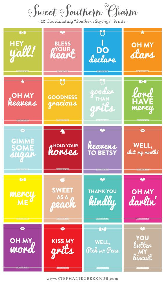 Southern Sayings: Pick 3 - 11 x 14 Sweet Southern Charm Prints. $44.00, via Etsy.