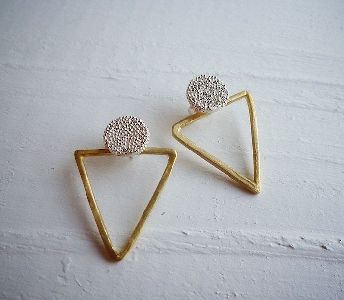 Sterling silver Circle Stud Earrings with Triangles - Earrings 344 to 347 for EAD2015 by Maria Apostolou