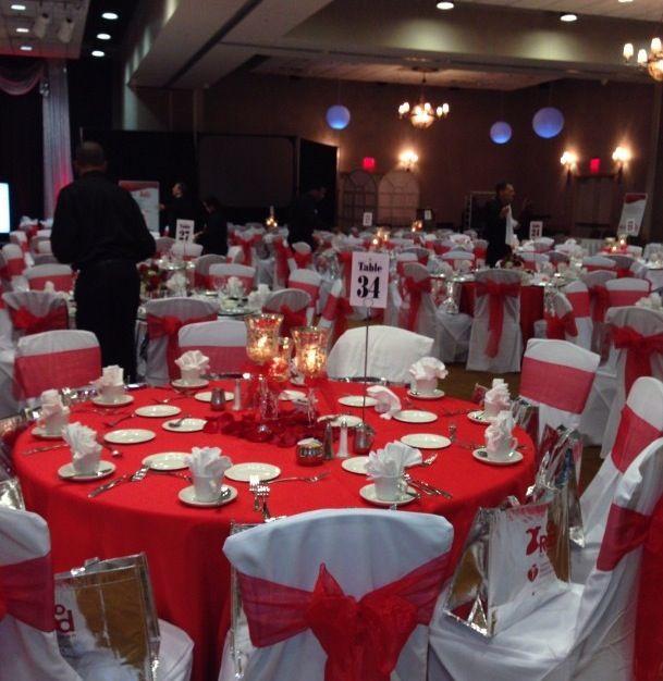 Red dress gala decorations
