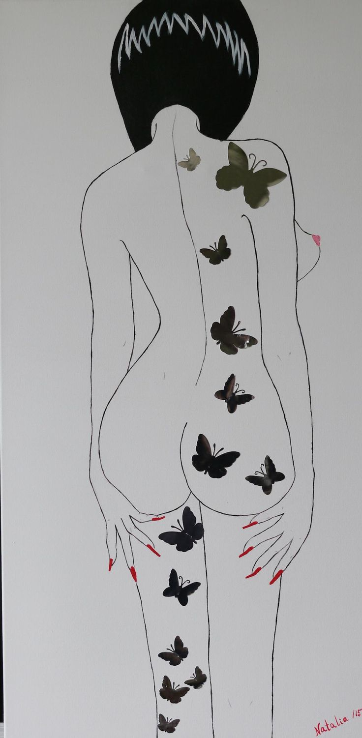 Girl With Butterflies Acrylic & Mixed Media on Canvas 36x18 Vendu/Sold