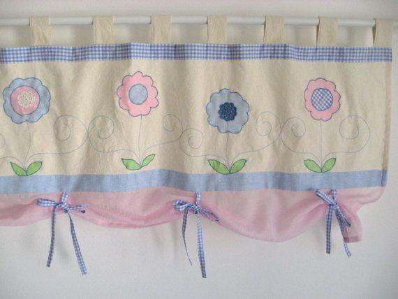 Lumière bleu Pale Pink cantonnière Baby Girl pépinière fenêtre traitement Rideau Spring Summer Cottage Country fleurs Pastel Kids Room Decor Floral