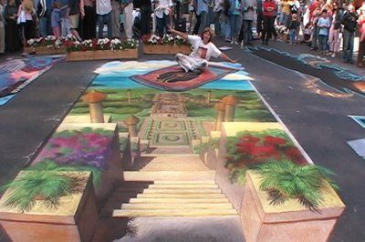 Manfred Stader and Edgar Müller, Germany: Art Illusions, Chalk Street, Artworks Paintings, Street Art, Sidewalks Artists, Altered Streetscap, 3D Street, Sidewalks Chalk, Chalk Art