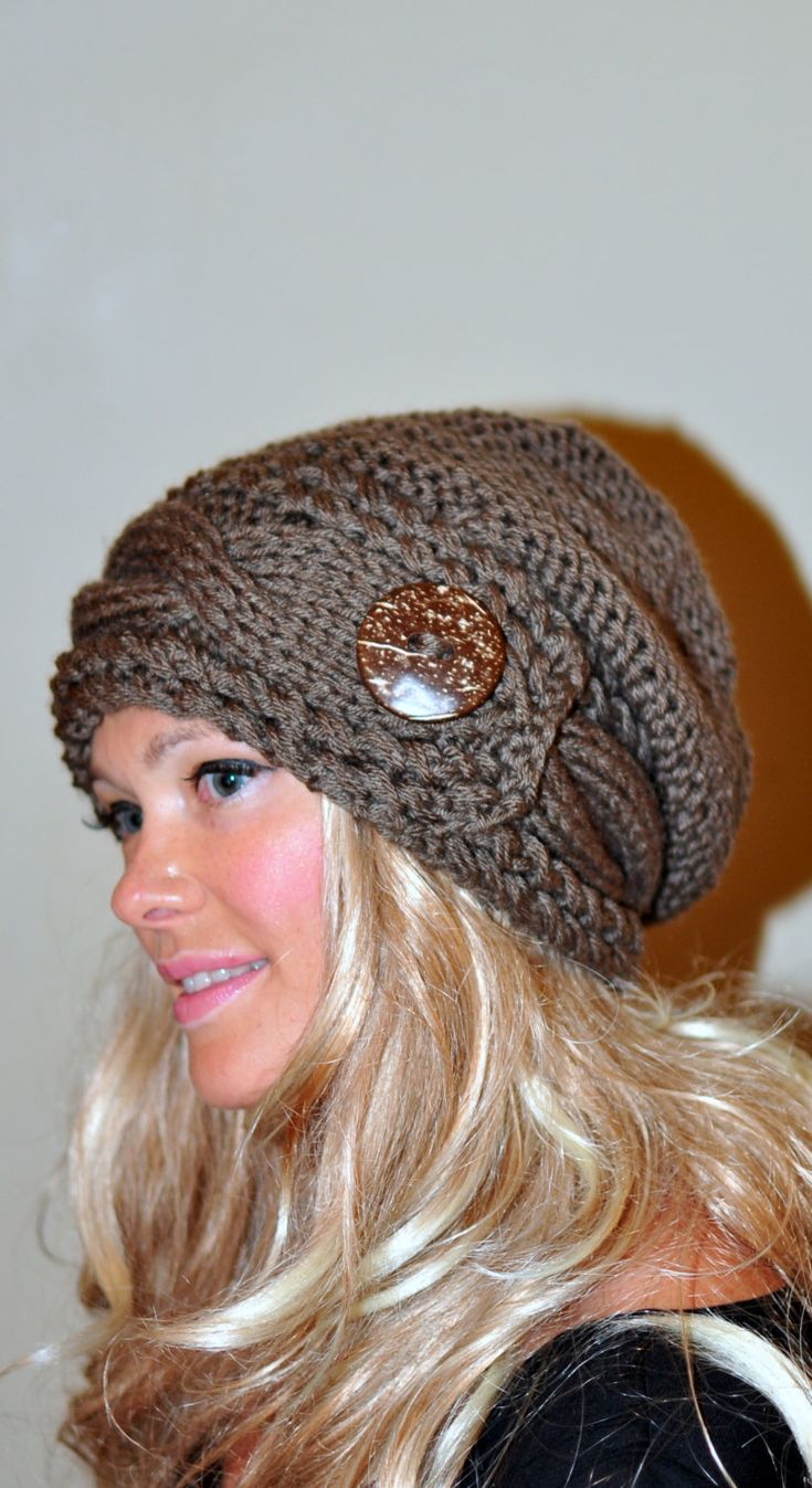 Slouchy Hat Slouch Beanie Cable Button Hat Hand Knit