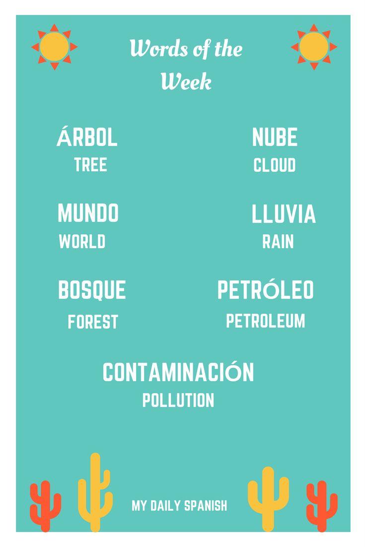 #MyDailySpanish Words for the Week: The Environment  Árbol (m) - Tree (noun) Nube (f) - Cloud (noun) Mundo (m) - World (noun) Contaminación (f) - Pollution (noun) Lluvia (f) - Rain (noun) Bosque (m) - Forest (noun) Petróleo (m) - Crude oil / Petroleum (noun)   For more useful lists of Spanish words you can learn everyday, go to mydailyspanish.com/