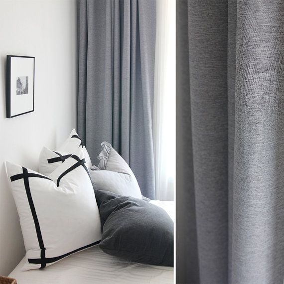 Nursery Curtains, Light Grey, Thick, Black Out, White Liner