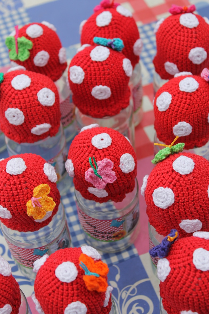 Red with white dots crocheted toadsstools are my favorites