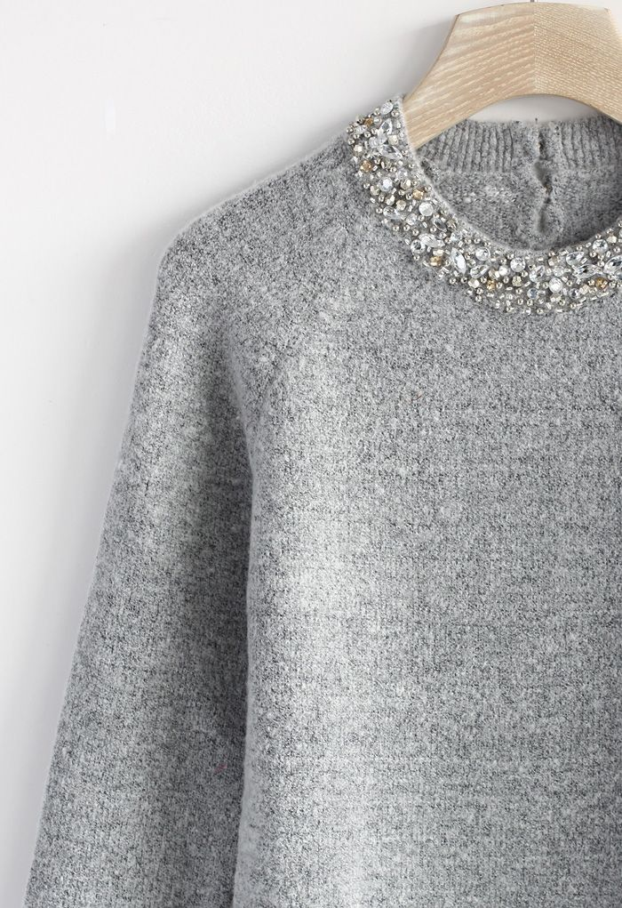 Jewelry Neckline Sweater in Grey - Sweaters