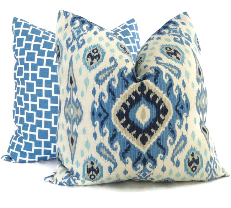 Shades of Blue Ikat Decorative Pillow Cover, 18x18, 20x20, 22x22 or lumbar pillow Throw Pillow, Accent Pillow, Toss Pillow by PopOColor on Etsy