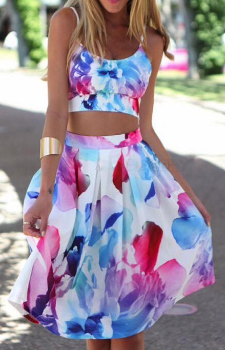 Sling Printed Sleeveless Two-Piece Dress