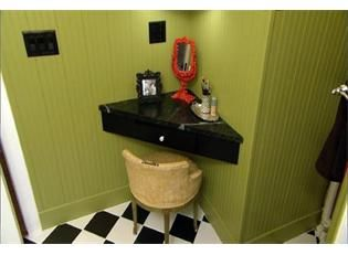 DIY MakeUp Vanity... would be a great little desk area for our living room as well! Maybe when we get a laptop?