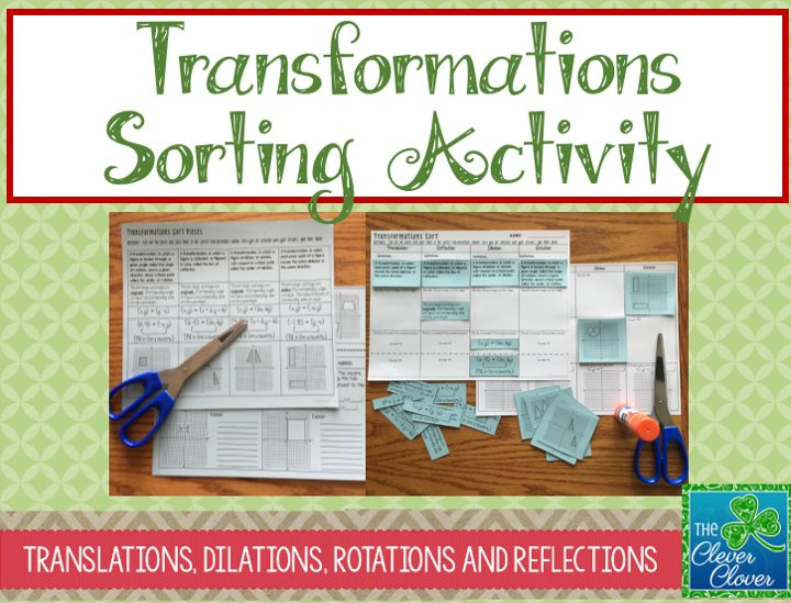 This product can be used after students have explored and learned about the four types of transformations: translations, dilations, reflections and rotations. An answer document is provided for students to cut and paste various categories. This could be an excellent individual or partner activity in order to review and make sense of all the transformations.