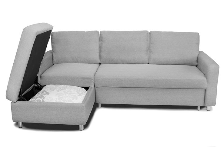 The Serendipity sectional is a pull-out sofa bed that offers full chaise storage that is the perfect size for condos...