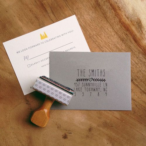 Such a pretty custom address stamp for you, or an affordable wedding/engagement gift