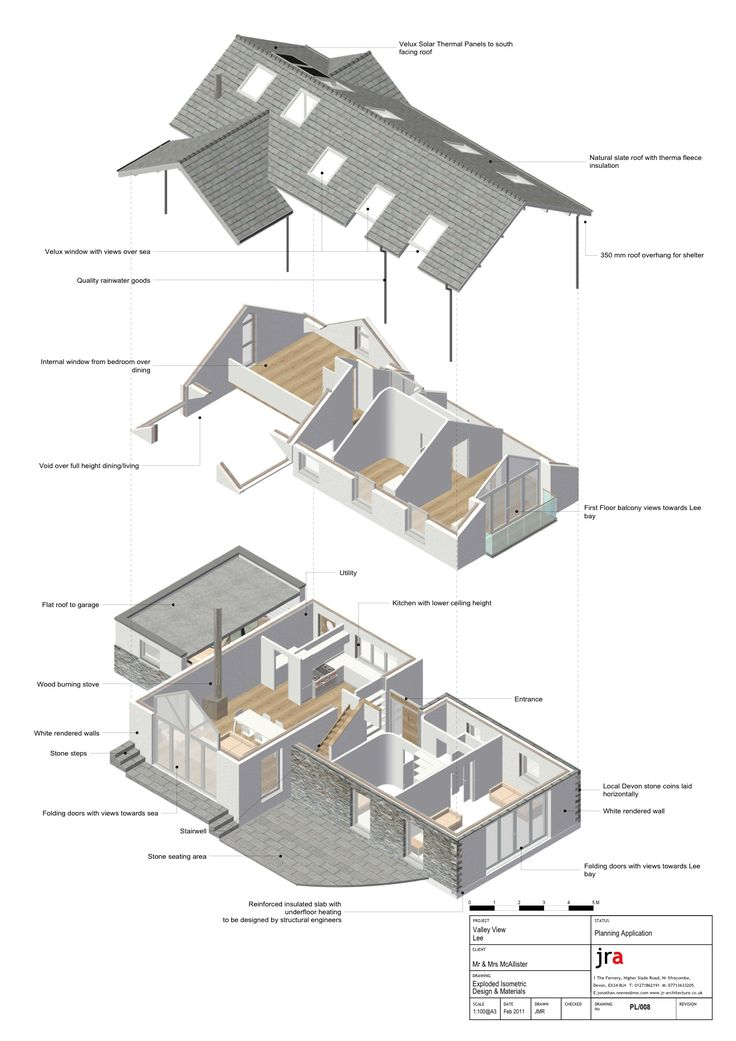 Exploded Isometric from Vectorworks BIM Model. This 3d view really helped the client engage with the design and interior spaces.