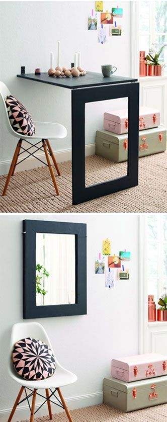 #DIY mirror/folding table. Great idea! For sewing area sewing table