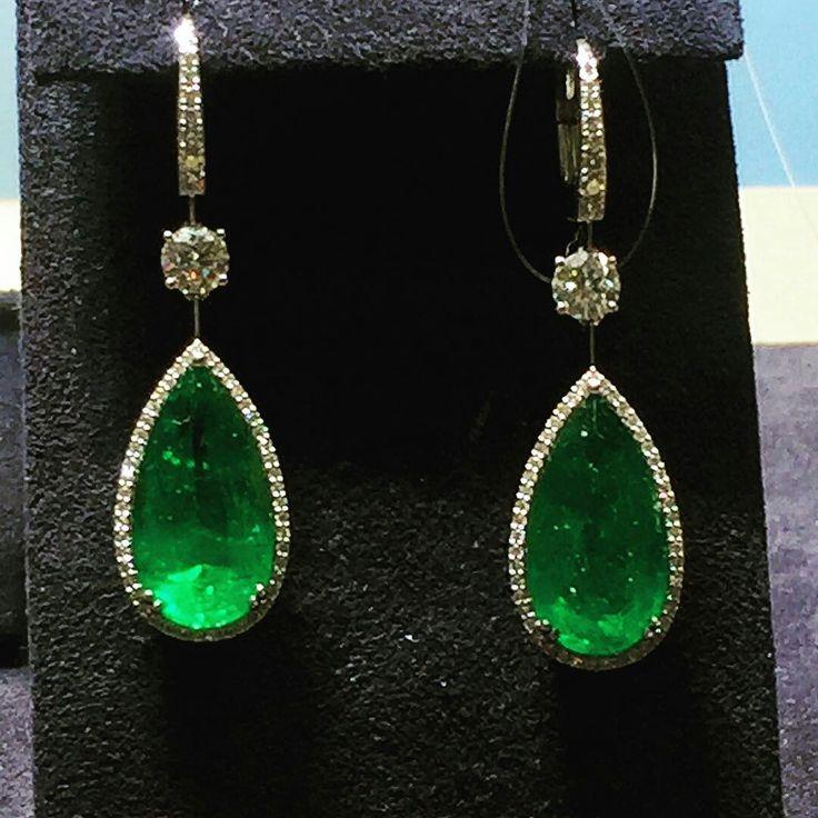 At @borgee_jewellery. JEANNA•BORGEE . Emerald earrings.