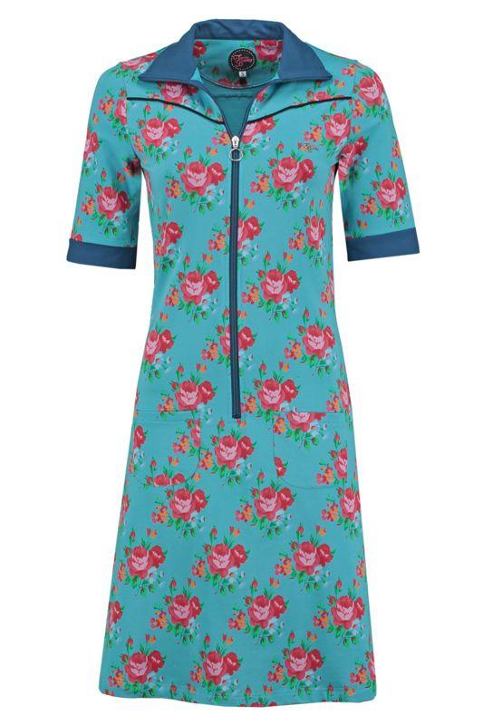 Tante Betsy Dress Sporty Roses print floral Blue jurk blauw roze rozen bloemenprint