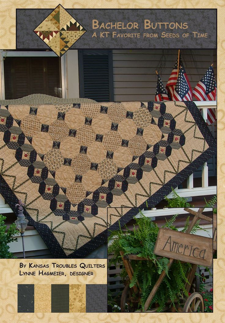 Kansas Troubles Quilters, Bachelor Buttons pattern in navy and tan.