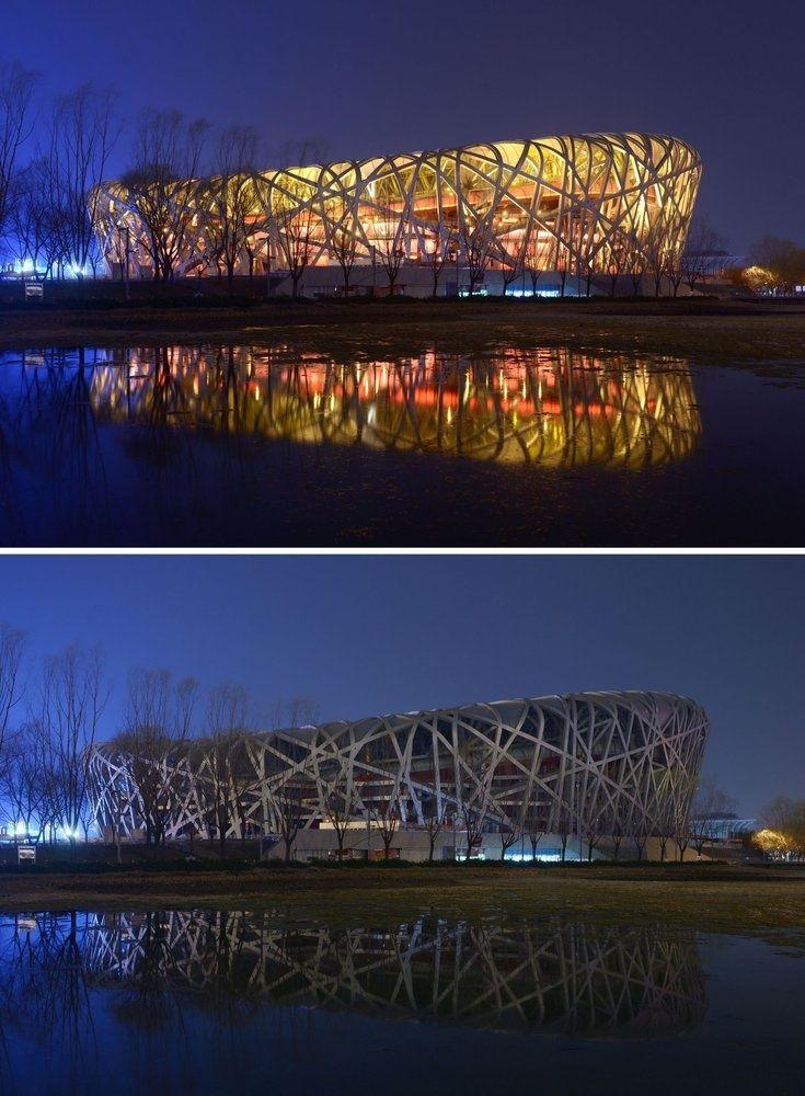 Las espectaculares imágenes de La Hora del Planeta 2016: Estadio Nacional de Pekin, China.- El Muni.