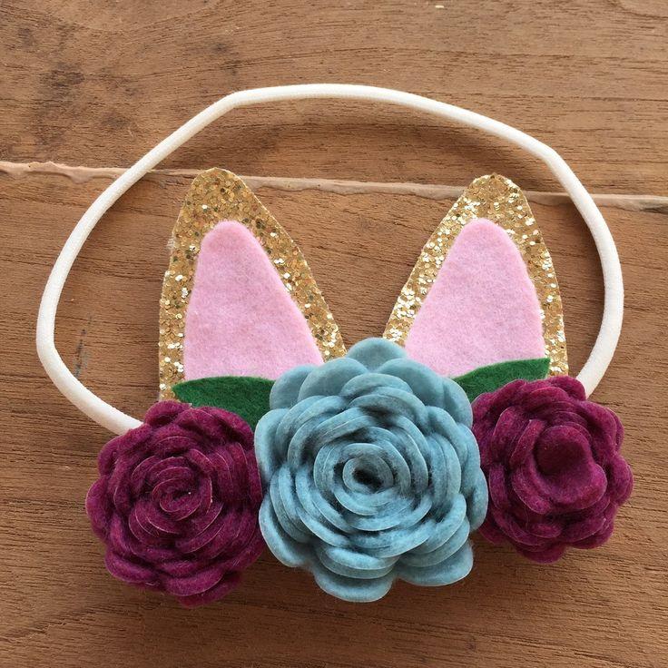 Baby flower headband infant headband some bunny is one
