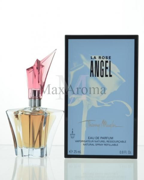 Thierry Mugler La Rose Angel     Allied with patchouli and woody oriental notes, rich rose represents the new irresistible floral edition of Angel. Citrus cocktail opens the composition. The heart is filed with beautiful Bulgarian rose, plum and pink pepper. Base notes are gourmand: vanilla, caramel, chocolate and coumarin.  www.maxaroma.com fragrance women thierry-mugler-la-rose-angel-for-women pid 11384 5