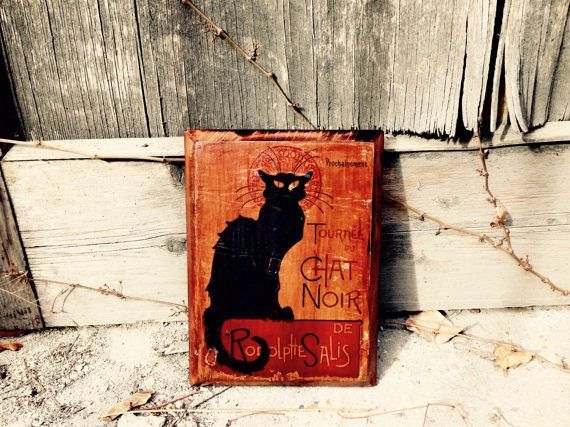 Le Chat Noir Home Decor Wall Decor Black Cat Wooden Picture