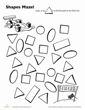 Preschool Mazes Shapes Worksheets: Race Car Shape Maze