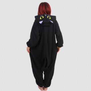 Black cat fleece pajamas onesie for teens cosplay homewear