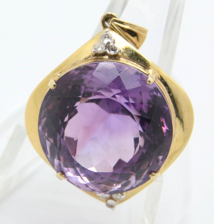 14K Yellow Gold Genuine Faceted Amethyst Diamond Accent Pendant (9.7g) #Unbranded #Unavailable