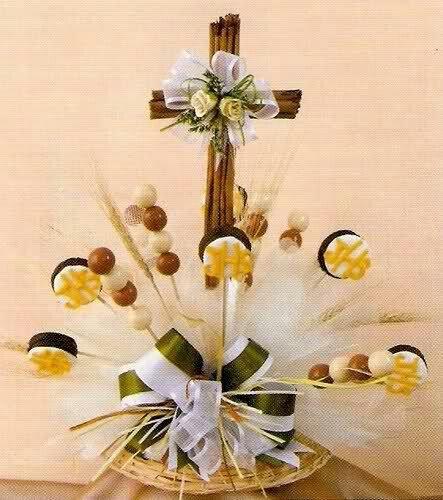 Cruz de canela bautizos comuniones y mas pinterest - Mesas para comuniones ...
