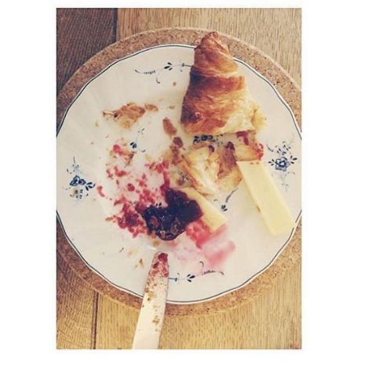A truly Parisian breakfast of Comté, fruit jam and croissants