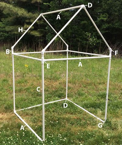 PVC playhouse, a simple and inexpensive design your kids can use indoors or take outside for some imaginative fun.