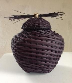 Laura Weber Basketry, Covered Urn 2