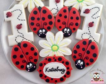 1 dozen Ladybug sugar cookies by SugarCookieWhimsy on Etsy