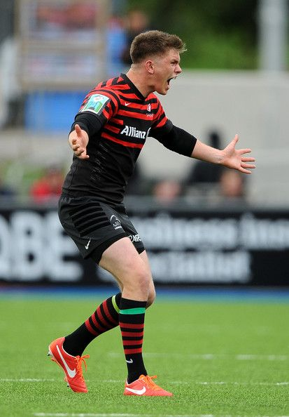 Owen Farrell of Saracens screams for the ball during the Aviva Premiership Semi Final match between Saracens and Northampton Saints at Allianz Park on May 12, 2013 in London, England.